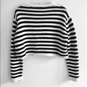 2edb976d Zara Sweaters   Knit Striped Cropped Sweater   Poshmark